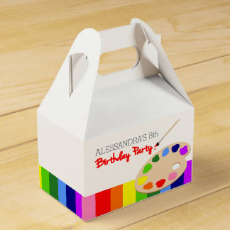 Rainbow Artist Palette Painting Birthday Party Party Favor Box