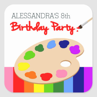Rainbow Artist Palette Painting Birthday Party Square Sticker