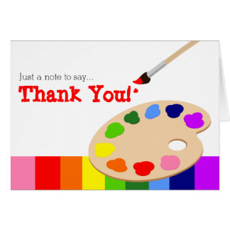 Rainbow Artist Palette Thank You Card Cards