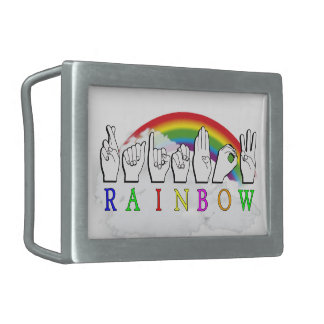 RAINBOW ASL FINGERSPELLED FOR DEAF BELT BUCKLES