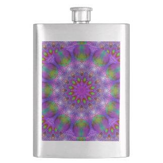 Rainbow at Dusk, Modern Abstract Star of Light Hip Flasks