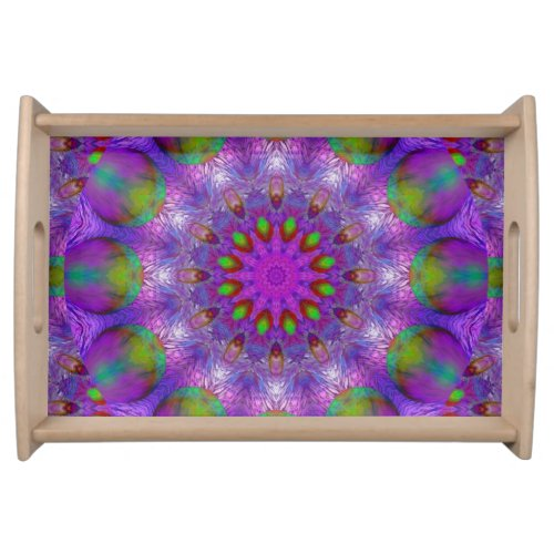 Rainbow at Dusk, Modern Abstract Star of Light Serving Tray