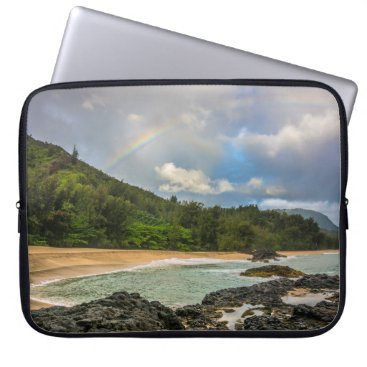 Beach Themed Rainbow at Lumaha'i Beach, Kauai, Hawaii Wetsuit Computer Sleeve