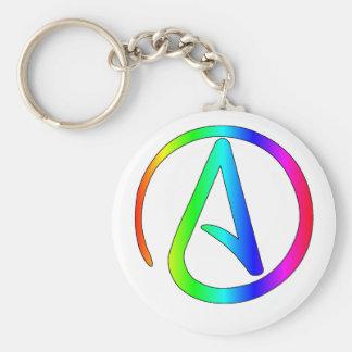 Rainbow Atheist Basic Round Button Keychain