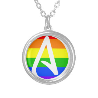 Rainbow Atheist Flag Round Pendant Necklace