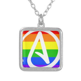 Rainbow Atheist Flag Square Pendant Necklace