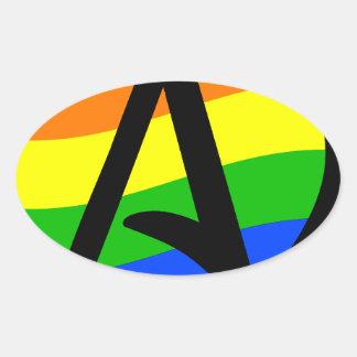 Rainbow Atheist Flag Oval Sticker