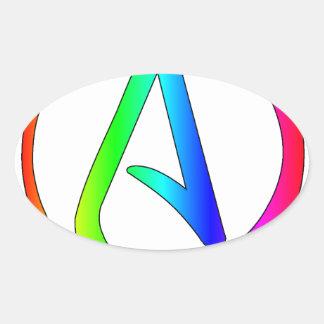 Rainbow Atheist Oval Sticker