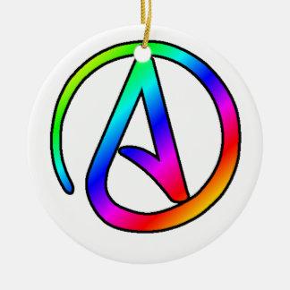 Rainbow Atheist Symbol Ceramic Ornament
