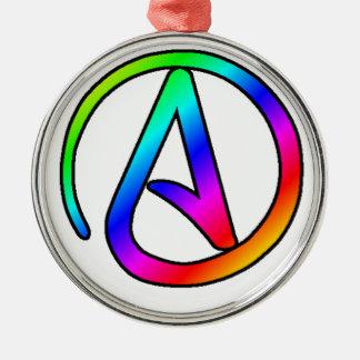 Rainbow Atheist Symbol Metal Ornament