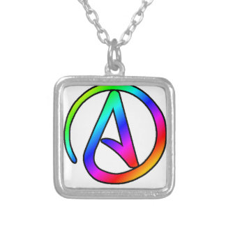 Rainbow Atheist Symbol Square Pendant Necklace