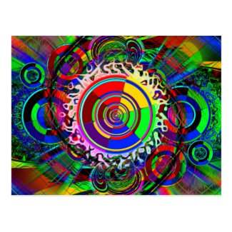 Rainbow Atomic No Danger Symbol Postcard