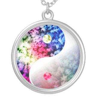 Rainbow Aum (Om) Round Pendant Necklace