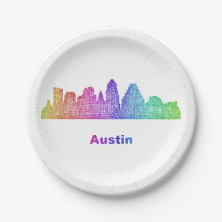 Rainbow Austin skyline Paper Plate