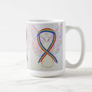 Rainbow Awareness Ribbon Angel Art Mug