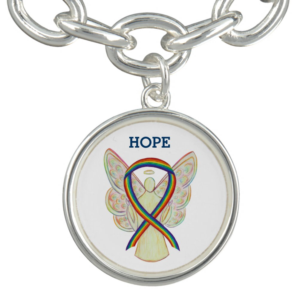 Rainbow Awareness Ribbon Angel Charm Bracelet