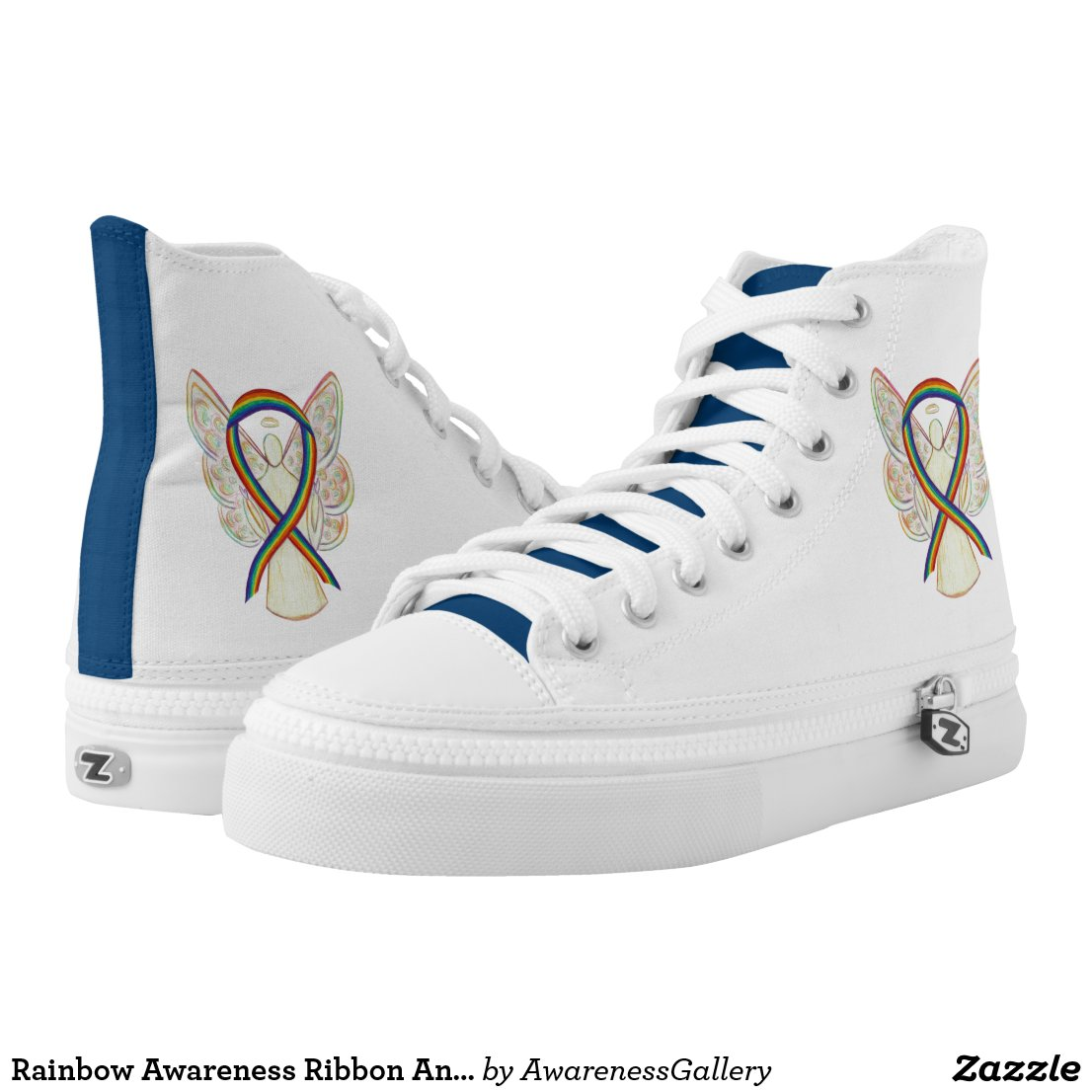 Rainbow Awareness Ribbon Angel Custom Design Shoes