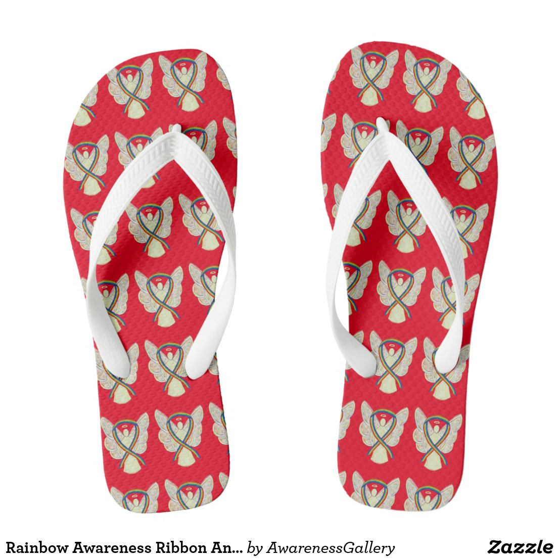 Rainbow Awareness Ribbon Angel Custom Flip Flops