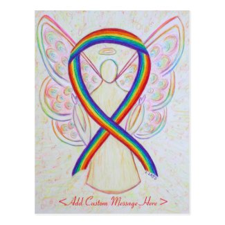 Rainbow Awareness Ribbon Angel Custom Postcard