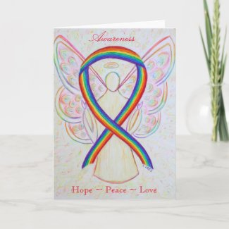 Rainbow Awareness Ribbon Angel Greeting Card