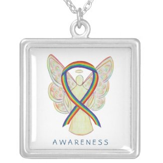 Rainbow Awareness Ribbon Angel Jewelry Necklace