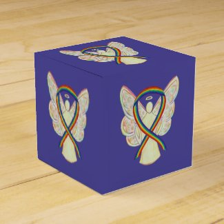 Rainbow Awareness Ribbon Angel Party Favor Box
