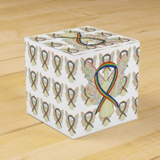 Rainbow Awareness Ribbon Angel Party Favor Boxes