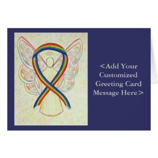 Rainbow Awareness Ribbon Angel Personalized Cards