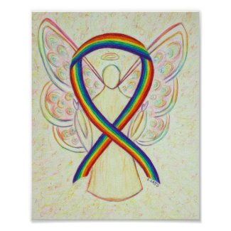 Rainbow Awareness Ribbon Angel Poster Art Print