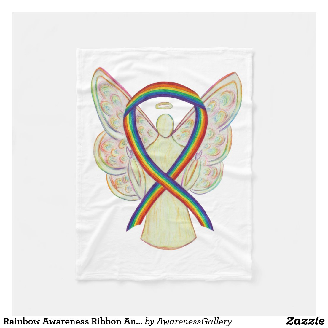 Rainbow Awareness Ribbon Angel Soft Blanket