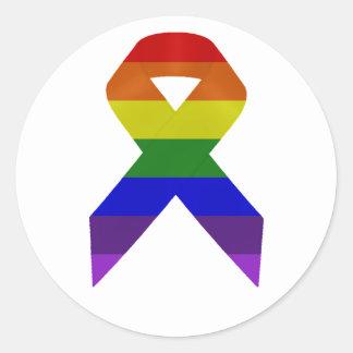 Rainbow Awareness Ribbon Classic Round Sticker