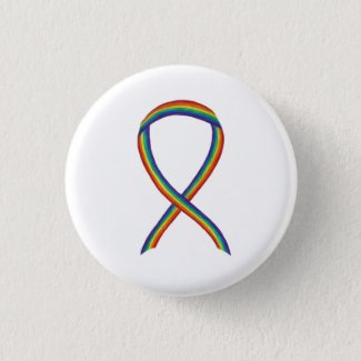 Rainbow Awareness Ribbon Custom Art Pins