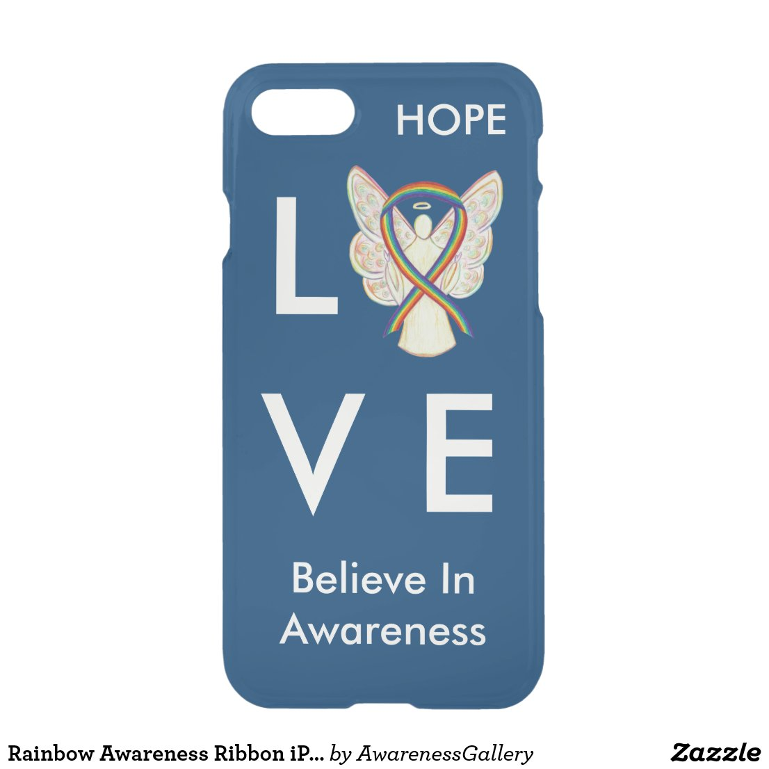 Rainbow Awareness Ribbon iPhone 7 Angel Case