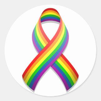 Rainbow Awareness Ribbon Round Sticker