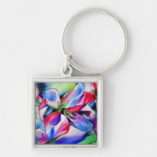 Rainbow Azalea flower original watercolor painting Key Chain