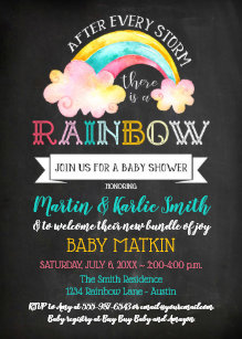 34e20c0995931 Rainbow Baby After The Storm Baby Shower Invitation