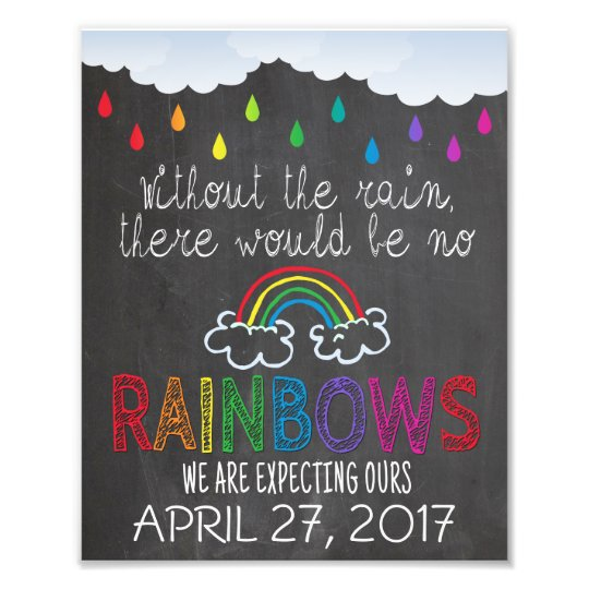 rainbow baby announcement photo prop sign 8 x 10 zazzle com