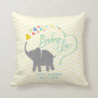 Rainbow Baby, Elephant Baby Love Throw Pillow