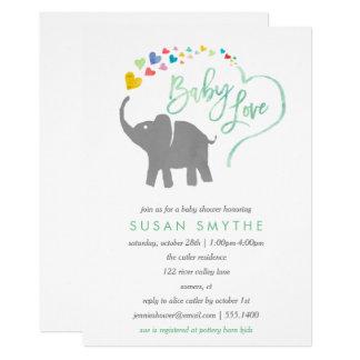 Rainbow Baby, Elephant Baby Shower Invitation