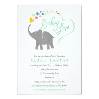 Rainbow Baby, Elephant Baby Shower Invitation
