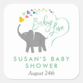 Rainbow Baby, Elephant Baby Shower Square Sticker