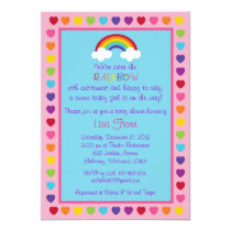 Rainbow Baby Girl Baby Shower Invitations