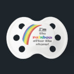 """Rainbow Baby Pacifier<br><div class=""""desc"""">My husband and I suffered a miscarriage before we welcomed our beautiful baby boy. We want our son to know about his older brother or sister and how much we hoped for and prayed for him - and that he&#39;s the light of our lives! This design is also our way...</div>"""