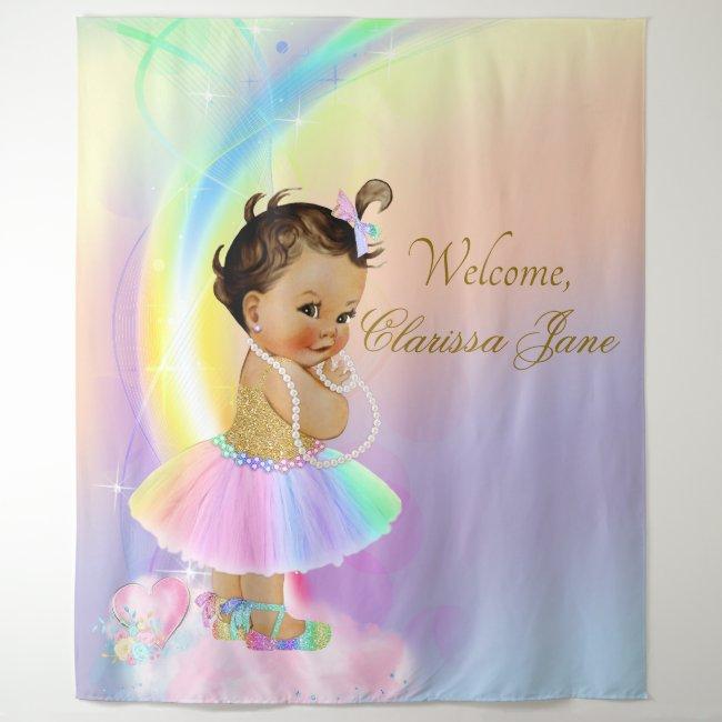 Rainbow Baby Shower Backdrop Banner Ethnic Girl