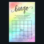 """Rainbow Baby Shower Bingo Game,  Watercolor Flyer<br><div class=""""desc"""">Have some fun at your shower with this fun bingo game! Add your text using the template form.</div>"""