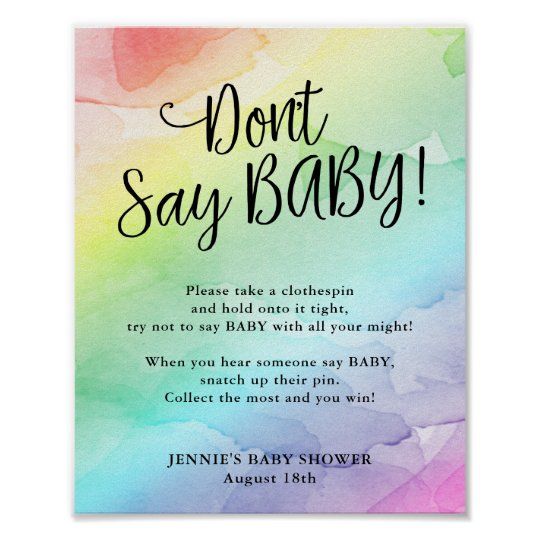 photo regarding Don't Say Baby Sign Free Printable named Rainbow Boy or girl Shower Dont Say Youngster Activity Poster