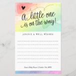 """Rainbow Baby Shower, Gender Neutral Advice Wishes<br><div class=""""desc"""">This trendy gender neutral rainbow baby shower wish card features a hand lettered heading, &quot;A little one is on the way&quot; and your custom text on the front. Both sides have a watercolor rainbow background. Use the template form to add your details. The Customize feature allows you to change the...</div>"""