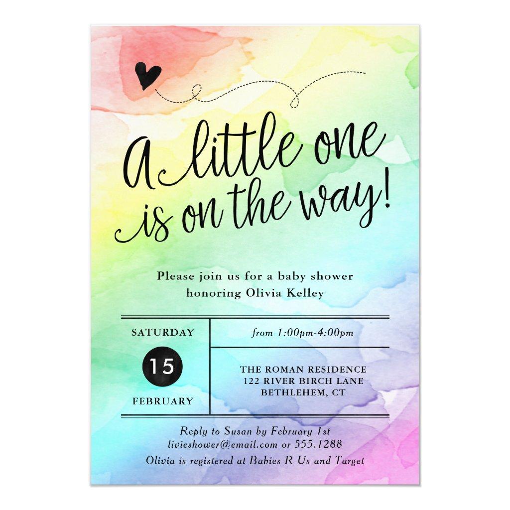 Rainbow Baby Shower, Gender Neutral Watercolor Card