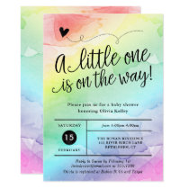 Rainbow Baby Shower, Gender Neutral Watercolor Invitation