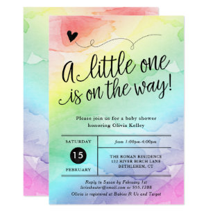 Gender neutral invitations zazzle rainbow baby shower gender neutral watercolor invitation filmwisefo